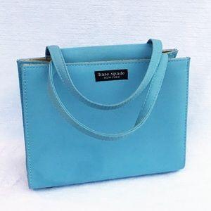 Kate Spade NY Small Blue Handbag with Plaid Lining